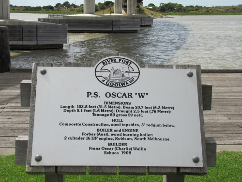 Information about the Oscar W at Goolwa