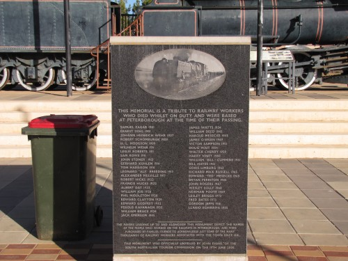 Railway memorial in the main street of Peterborough, South Australia
