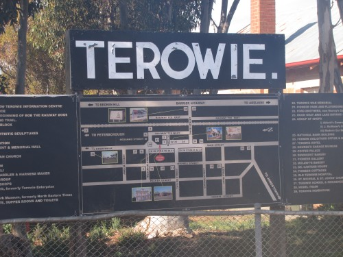 Map of the town on a sign in the main street