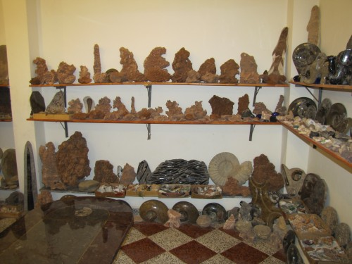 Sale items in a fossil shop in Erfoud