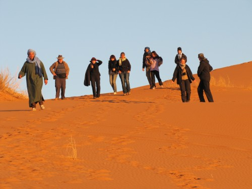 Some of our tour group in the Sahara