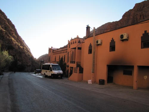 Our hotel in the Dades Valley. Our tour bus is also in the photo.